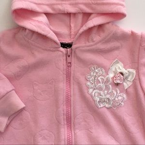 Girls hoodie size 3 6 months pink zip up sweat top